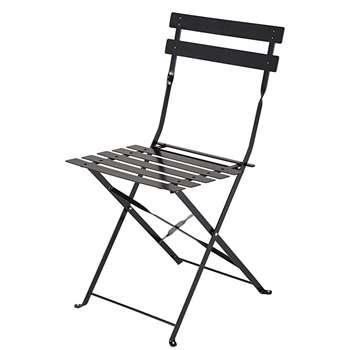 Guinguette 2 folding chairs in satiny black metal (80 x 42cm)