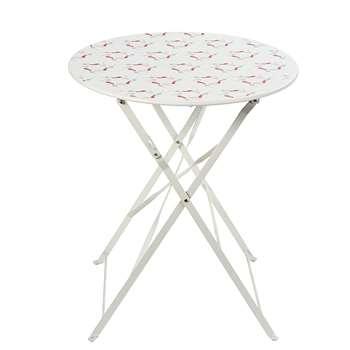 GUINGUETTE 2-Seater White Metal Folding Garden Table (H72 x W58 x D58cm)