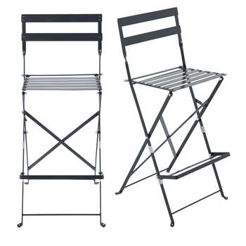 GUINGUETTE PRO - 2 Folding Metal Professional High Garden Chairs in Anthracite Grey Metal (H112 x W41 x D46cm)