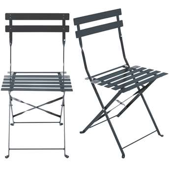 GUINGUETTE PRO - 2 Professional Anthracite Grey Folding Metal Garden Chairs (H80 x W42 x D45cm)