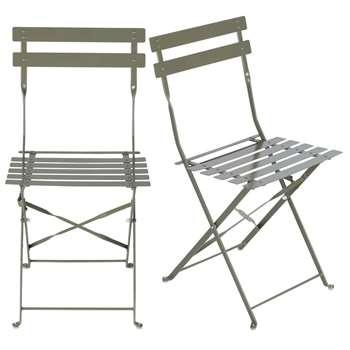GUINGUETTE PRO 2 Professional Khaki Metal Garden Chairs (H80 x W42 x D45cm)