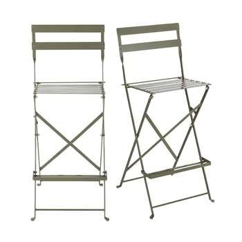 GUINGUETTE PRO - 2 Professional Khaki Metal High Garden Chairs (H112 x W41 x D46cm)