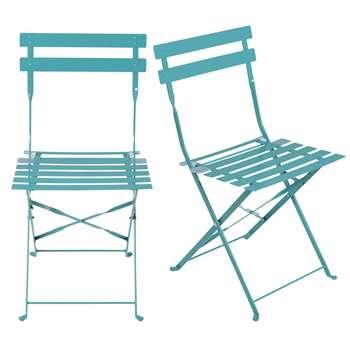 GUINGUETTE PRO - 2 Professional Petrol Blue Epoxy Metal Folding Garden Chairs (H80 x W42 x D45cm)
