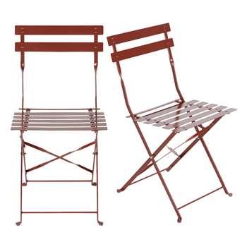 GUINGUETTE PRO - 2 Professional Terracotta Metal Garden Chairs (H80 x W42 x D45cm)