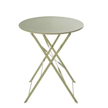 GUINGUETTE - Round Sage Green Metal Folding Garden Table (H72 x W58 x D58cm)