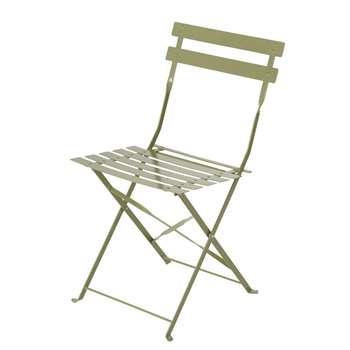 GUINGUETTE Sage Green Metal Garden Chair x 2 (H80 x W41 x D48cm)