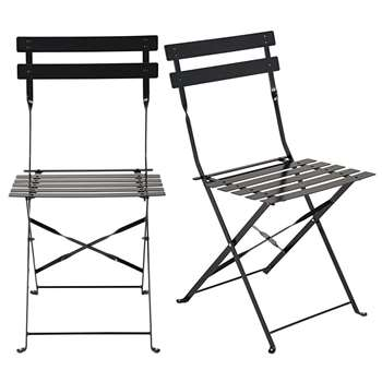 GUINGUETTE  - Set of 2 Metal Folding Garden Chairs in Black Epoxy Coating (H80 x W41 x D48cm)