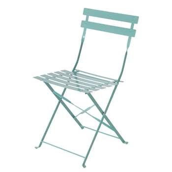 GUINGUETTE Turquoise Blue Metal Garden Chair x 2 (H80 x W41 x D48cm)
