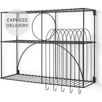Gulli Extra Large Wall Mounted Kitchen Storage Rack, Black (H60 x W75 x D22cm)