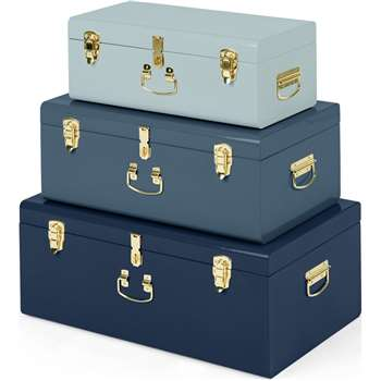 Gunner Extra Large Set of 3 Metal Storage Trunks, Tonal Blue (H42 x W68 x D28cm)