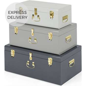 Gunner Extra Large Set of 3 Metal Storage Trunks, Tonal Grey (H28 x W68 x D42cm)