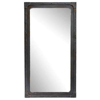 GUSTAVE metal look wooden mirror H 167cm