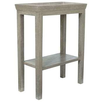Gustavian Wooden Sofa Side Table - Silver Birch (59 x 48cm)