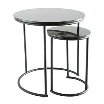 GUSTAVO 2 Black Marble Nesting End Tables (H51 x W50 x D50cm)