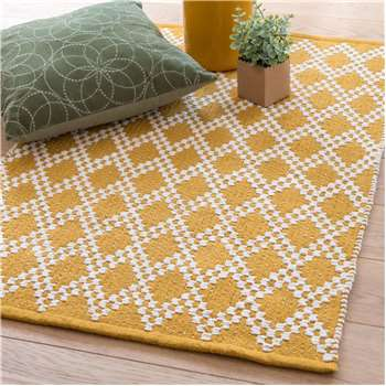 GYPSOPHILE Yellow Cotton Rug with Graphic Print (H60 x W90cm)