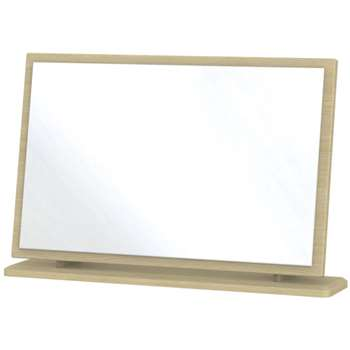 Ha Long Bay High Gloss White and Light Oak Mirror - Large (49.7 x 76.5 x 14cm)
