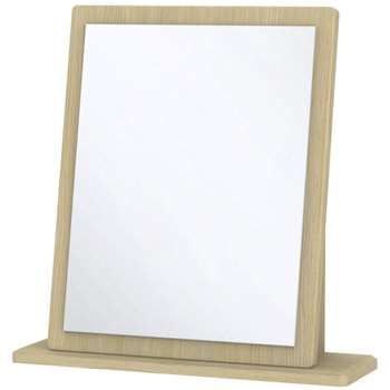 Ha Long Bay High Gloss White and Light Oak Mirror - Small (48.3 x 47.8 x 14cm)