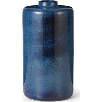Haalo Large Ceramic Vase, Blue (H31 x W16 x D16cm)