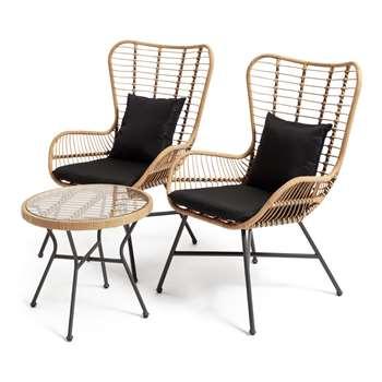 Habitat 2 Seater Bamboo Bistro Set (H98 x W69 x D81cm)