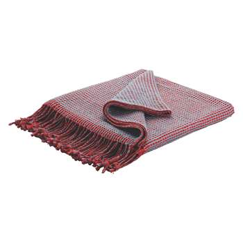 Habitat Abban Red And Blue Reversible Cotton Throw (150 x 170cm)