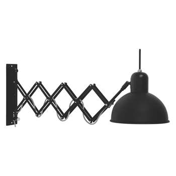 Habitat Aberdeen Black Metal Extendable Wall Light (Length: 60-85cm)