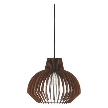 Habitat Achille Walnut Plywood Ceiling Light Shade (36 x 43cm)