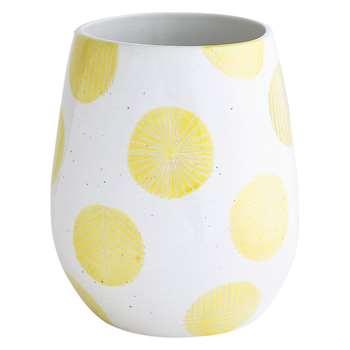 Habitat Adelaide White And Yellow Spot Ceramic Vase (24.5 x 20.5cm)