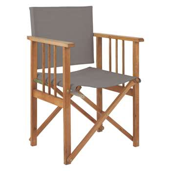 Habitat Africa Solid Oak Directors Chair With Charcoal Cotton Sling (86 x 54cm)