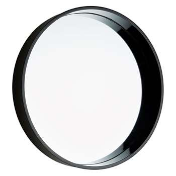 Habitat Aimee Black High Gloss Round Wall Mirror (Diameter 41cm)