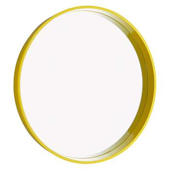 Habitat Aimee Saffron Yellow High Gloss Round Mirror (Diameter 65cm)
