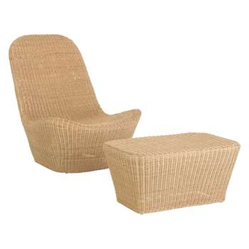 Habitat Akaros Natural Rattan Lounge Chair And Footstool (84 x 69cm)