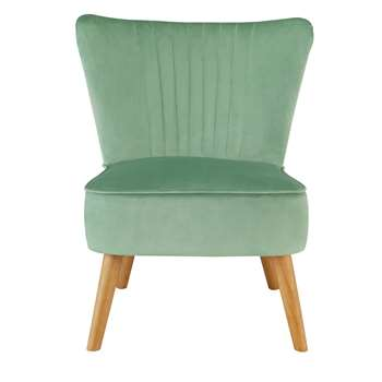 Habitat Alana Velvet Shell Back Accent Chair - Mint (H79 x W52 x D64cm)
