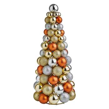 Habitat Anngarsk Metallic Glitter Bauble Christmas Tree (Height 35cm)