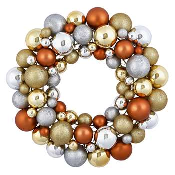 Habitat Anngarsk Metallic Glitter Bauble Wreath (H40 x W40cm)