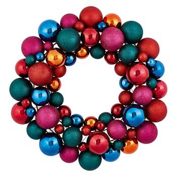Habitat Anngarsk Multi-Coloured Glitter Bauble Wreath (H40 x W40cm)