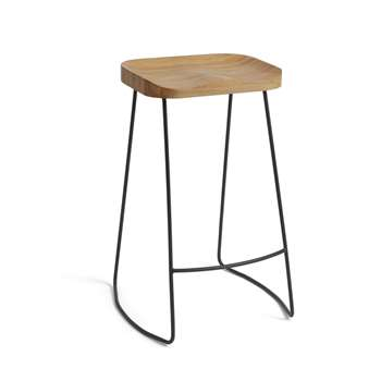 Habitat Arte Metal Bar Stool - Oak (H66 x W45 x D41cm)
