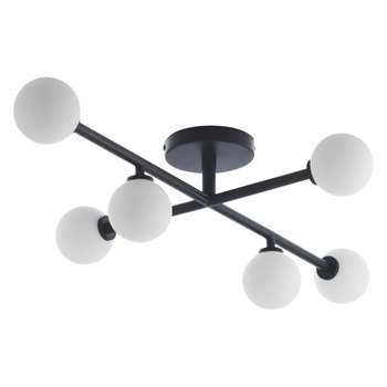Habitat Astrid Small Black And White Metal And Glass LED Ceiling Light (W77 x D49cm)