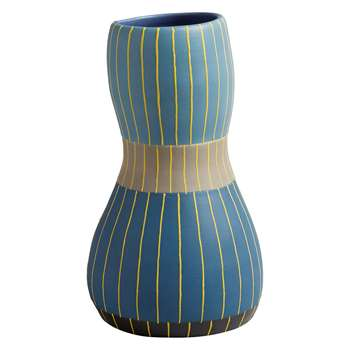 Habitat Azuis Blue And Yellow Linear Ceramic Vase