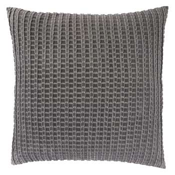 Habitat Bailey Grey Ribbed Velvet Cushion (H60 x W60cm)
