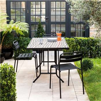 Habitat Becklen Dining Set With Mosaic Table And 4 Black Chairs (75 x 150cm)