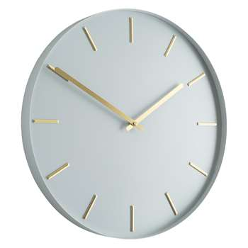 Habitat Bourke Pale Grey Metal Wall Clock (Diameter 40cm)