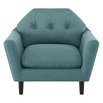 Habitat Brix Teal Fabric Buttoned Armchair (76 x 92cm)
