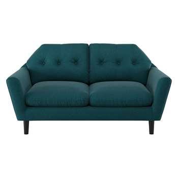 Habitat Brix Teal Tweed Wool Mix 2 Seater Sofa (76 x 120cm)