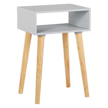 Habitat Cato Grey Side Table With Storage And Solid Wood Legs, Grey (H60 x W40 x D30cm)