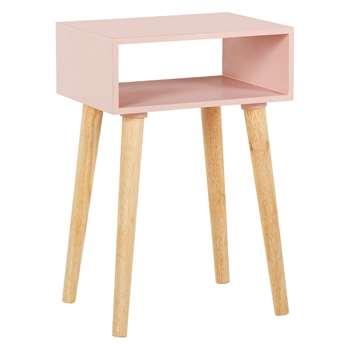Habitat Cato Pink Side Table With Storage And Solid Wood Legs, Pink (H60 x W40 x D30cm)