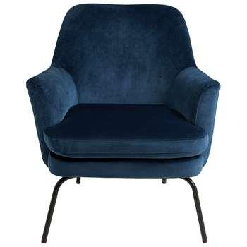 Habitat Celine Velvet Accent Chair - Blue (H83 x W74 x D73cm)