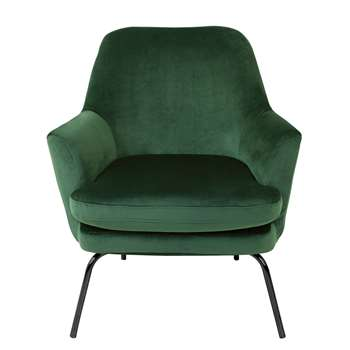 Habitat Celine Velvet Accent Chair - Green with Black Legs (H83 x W74 x D73cm)