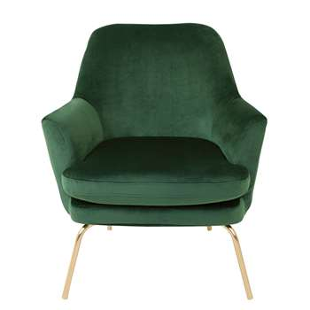 Habitat Celine Velvet Accent Chair - Green with Gold Legs (H83 x W74 x D73cm)