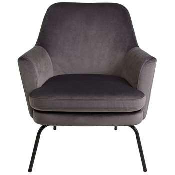 Habitat Celine Velvet Accent Chair - Grey (H83 x W74 x D73cm)