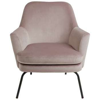 Habitat Celine Velvet Accent Chair - Pink (H83 x W74 x D73cm)